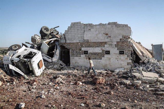 Casa destruida en un bombardeo en Kafr Nabl, en Idlib