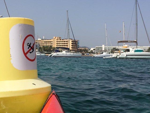 Denuncian fondeos sin autorización frente a la playa de S'Arenal a Eivissa.