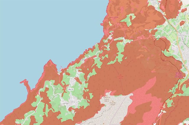 Mapa de la zona de Llucalcari-CalaDeià a Mallorca