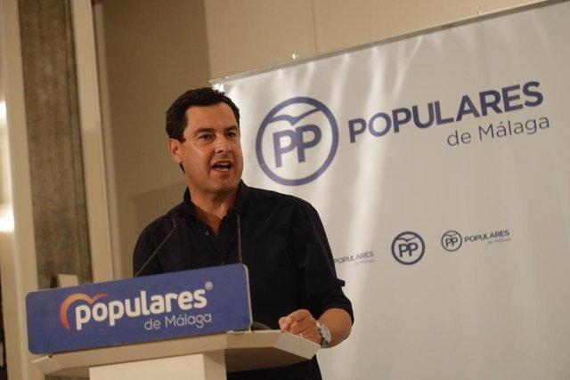 El presidente del PP-A y de la Junta de Andalucía, Juanma Moreno