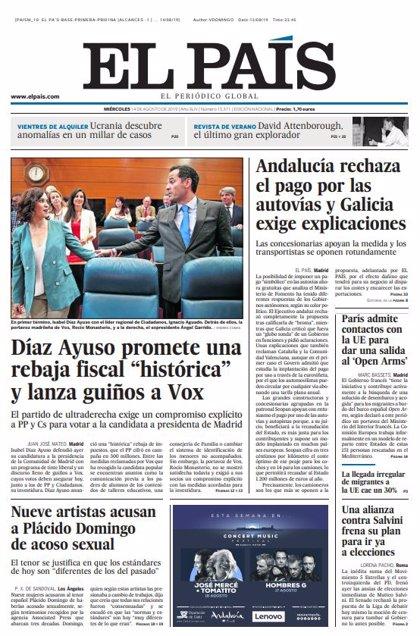 Las portadas de los periódicos del miércoles 14 de agosto de 2019