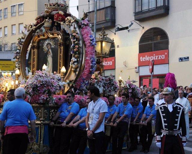 Imagen de archivo de la procesión de la Virgen de la Paloma.