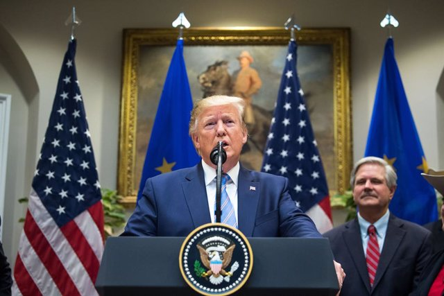 August 2, 2019 - Washington, DC USA: President Donald Trump speaks on a U.S. beef trade deal with the European Union, in the Roosevelt Room at the White House in Washington, DC on Friday, August 2, 2019. (CONTACTO)