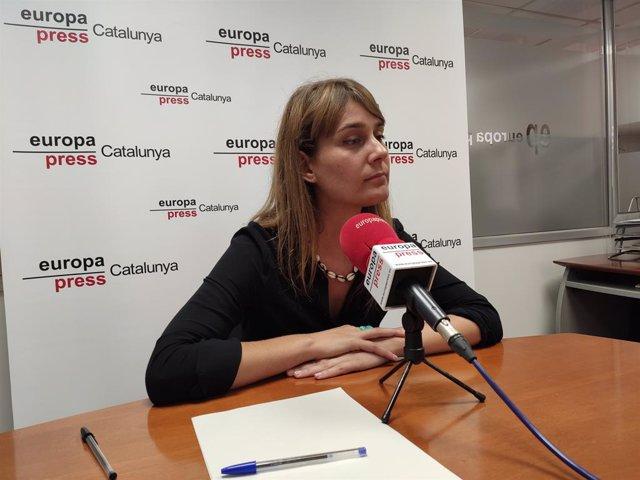 La presidenta de CatECP en el Parlament, Jéssica Albiach, en una entrevista d'Europa Press