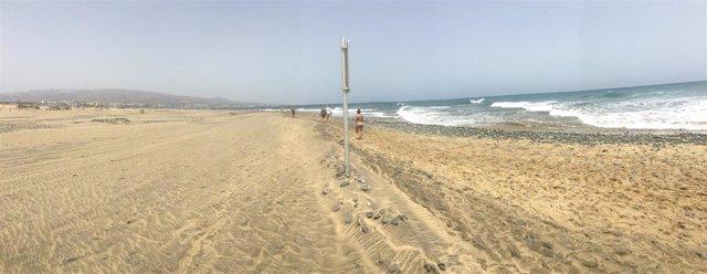 Playa de Maspalomas, en San Bartolomé de Tirajana (playa, turistas)