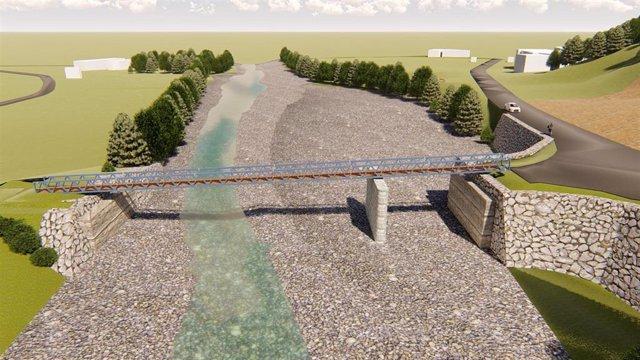 Pasarela que se construirá sobre el río Saja a su paso por Ruente, ante la falta de puente por las inundaciones