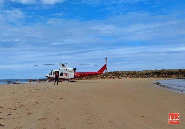 Helicóptero 112 en playa de Amio