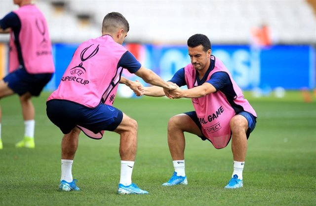 13 August 2019, Turkey, Istanbul: Chelsea's Pedro Rodriguez Ledesma attends a training session ahead of the UEFA Supercup final between Liverpool and Chelsea at the Besiktas Park. Photo: Adam Davy/PA Wire/dpa