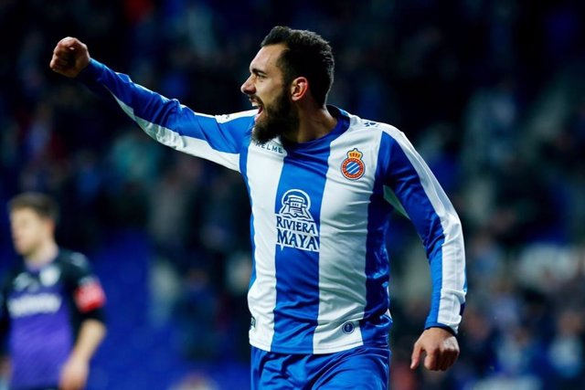 Borja Iglesias celebra un gol con el RCD Espanyol.