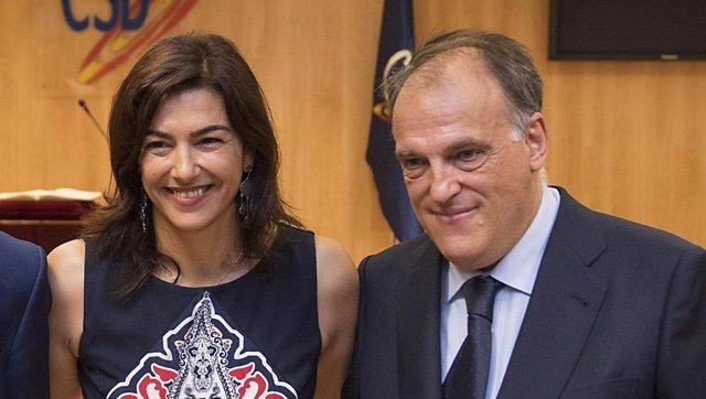 María José Rienda, presidenta del CSD, junto a Javier Tebas