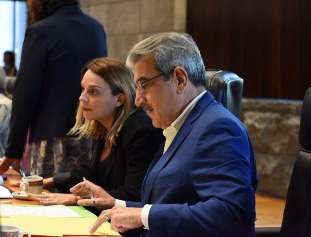 El vicepresidente y consejero de Hacienda,  Presupuestos y Asuntos Europeos del Ejecutivo autónomo, Román Rodríguez, en Consejo de Gobierno