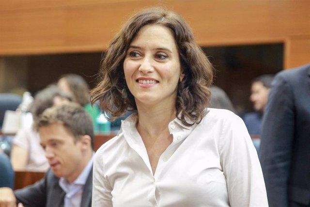 La candidata del PP a la Presidencia, Isabel Díaz Ayuso, en la Asamblea de Madrid durante el debate del segundo pleno de su investidura.