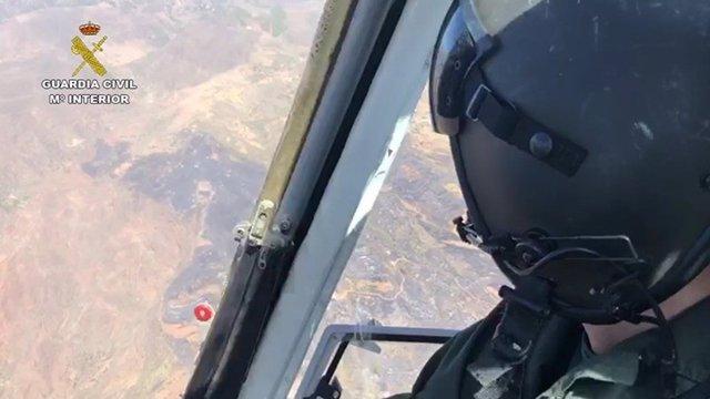 Incendio en Cazadores visto desde el helicóptero de la Guardia Civil