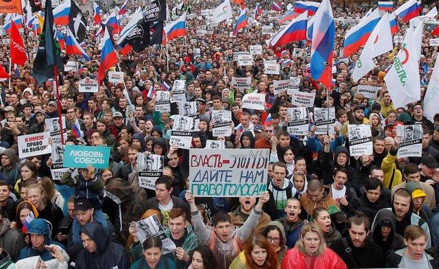 Protesta de la oposición en Moscú