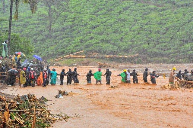 Zona inundada por las luvias en Kerala