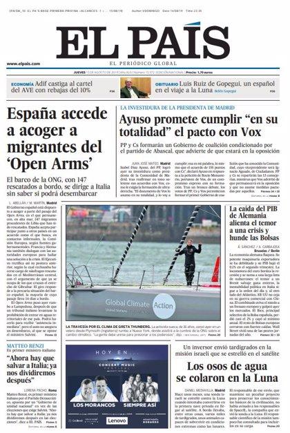 Las portadas de los periódicos del jueves 15 de agosto de 2019