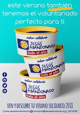 Cartel de la campaña de la Fundación Jesús Abandonado para el voluntariado para los meses de verano