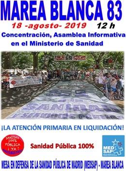 Cartel de la concentración de la próxima Marea Blanca en Madrid