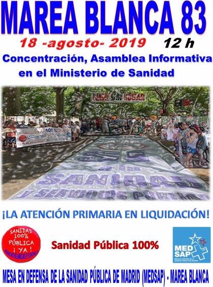 La Marea Blanca vuelve el domingo a manifestarse contra los recortes horarios y derivaciones en Atención Primaria