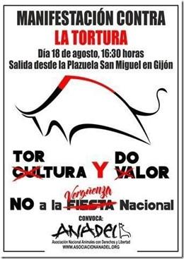 Cartel manifestación antitaurina Gijón.