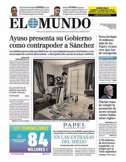 Las portadas de los periódicos del viernes 16 de agosto de 2019