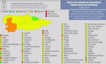 El índice de riesgo por incendios forestales es muy alto en 9 municipios asturianos este viernes