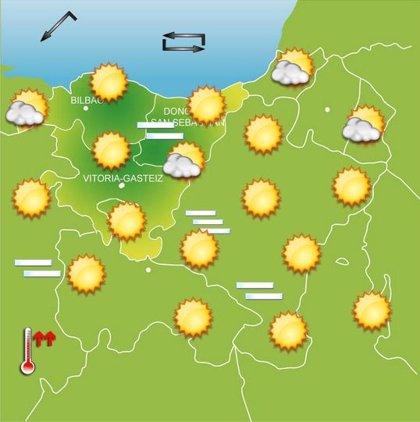 Jornada soleada este viernes en Euskadi, con máximas de entre 25 y 30 grados