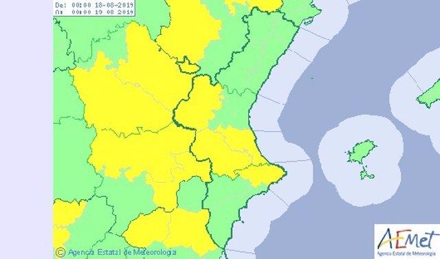 Mapa previsión meteorológica de Aemet para la Comunitat Valenciana