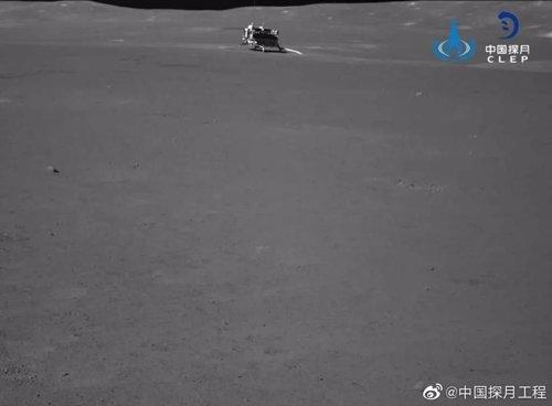 El aterrizador lunar chino Chang'e 4, visto desde el rover Yutu 2