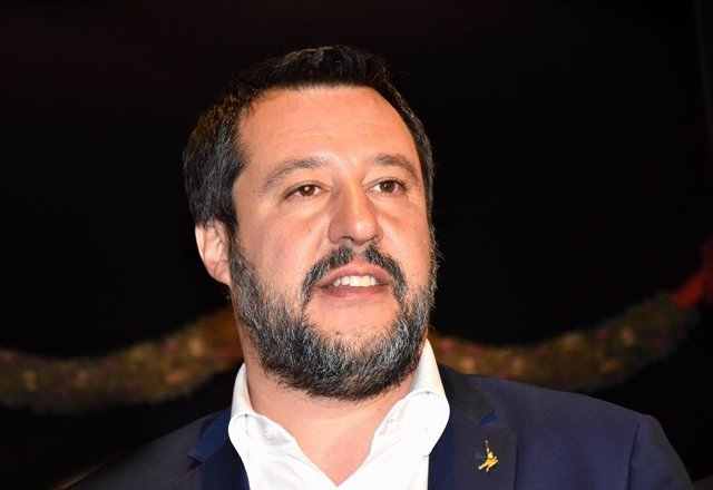 April 9, 2019 - Milan, Italy: Matteo Salvini, Italian Vice Prime Minister and Minister of Interior Affair, leader of the Lega Party. Milan Furniture Fair, International Home Decor and Interior Design Industries Fair. An Italian event focusing on the home