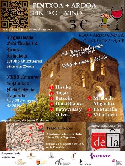 Ocho establecimientos participarán en el 'Concurso de Pintxos Medievales' de Laguardia (Álava)