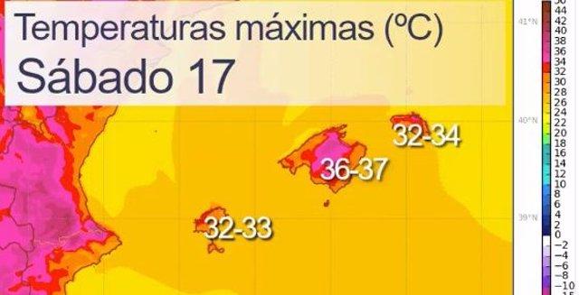 Avís per temperatures mximes.