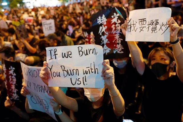 Manifestación estudiantes en Hong Kong