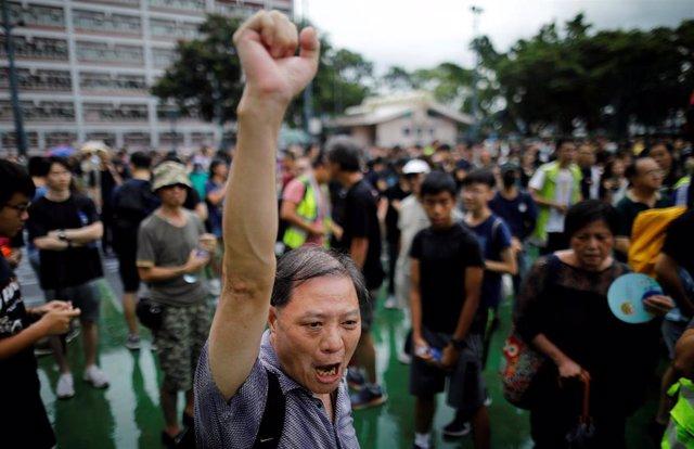 Marcha de profesores en Hong Kong