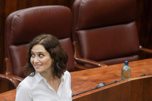 Isabel Díaz Ayuso tras conocer el resultado de la votación que la convirtió en presidenta de la Comunidad de Madrid