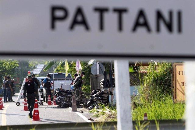 Control de seguridad en la provincia de Pattani, en el sur de Tailandia, donde operan grupos insurgentes separatistas musulmanes.