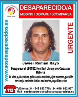 Imatge de Javier Roman Rayo, desaparegut el passat 18 de juliol a Sant Llorenç des Cardassar.