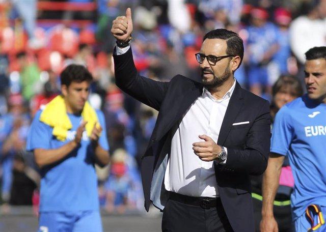 José Bordalás celebra una acción del Getafe