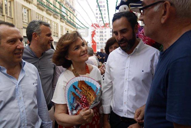 La vicepresidenta del Gobierno, Carmen Calvo, en la feria de Málaga