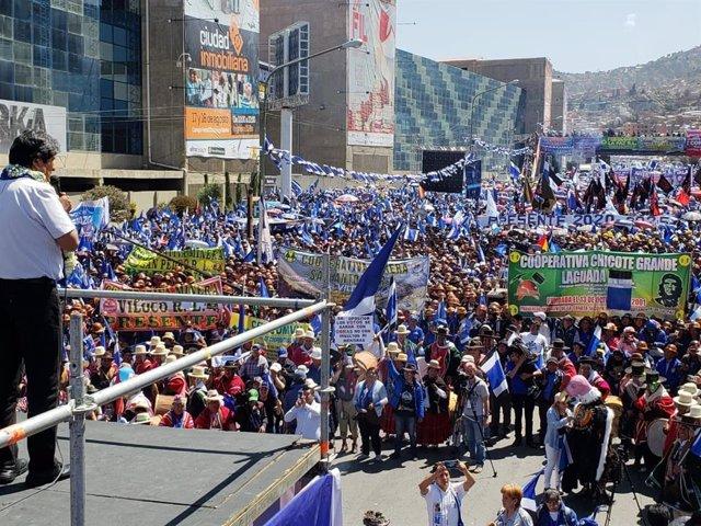 Acto del presidente de Bolivia, Evo Morales, en La Paz