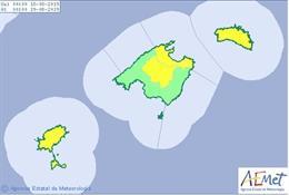 Mapa de las zonas de Baleares con aviso amarillo por altas temperaturas para este domingo.