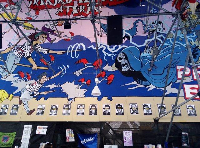 Imagen del cartel de la Txori Barrote que la Audiencia Nacional ha ordenado retirar