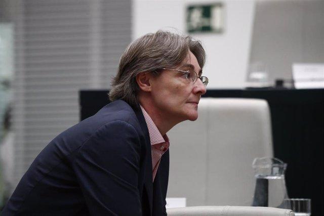 Imagen de archivo de la portavoz orgánica de Más Madrid en el Ayuntamiento, Marta Higueras, durante un pleno en el Ayuntamiento.