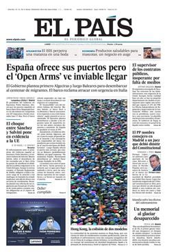 Portada de El País del lunes 18 de agosto