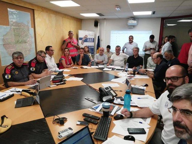 Reunión de coordinación del incendio de Gran Canaria