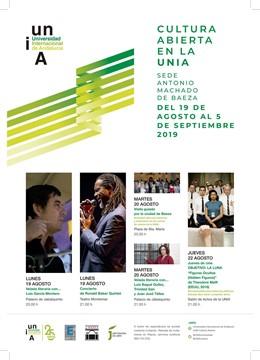Cartel sobre la actividad cultural de la UNIA en la primera semana de cursos en Baeza