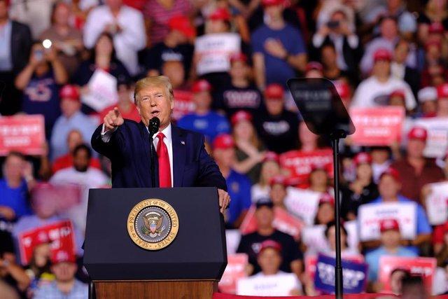 Donald Trump durante un acto de campaña