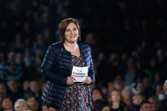 La candidata por Gipuzkoa al Congreso por Unidas Podemos. Pilar Garrido, en el acto de cierre de campaña del partido en el Auditorio del Parque Lineal del Manzanares en Madrid