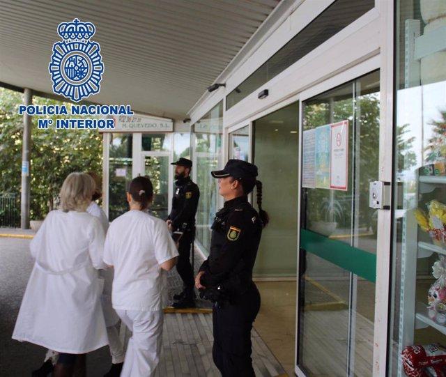 Vigilancia policial en un hospital