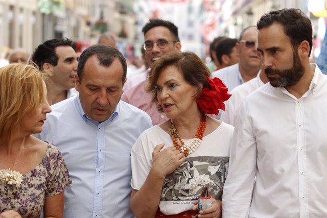 MLG 17-08-2019.-La secretaria de Igualdad del PSOE y vicepresidenta del Gobierno en funciones, Carmen Calvo,en la feria de Málaga